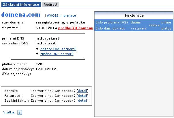 Forpsi - nastavení DNS u domén - editace domény