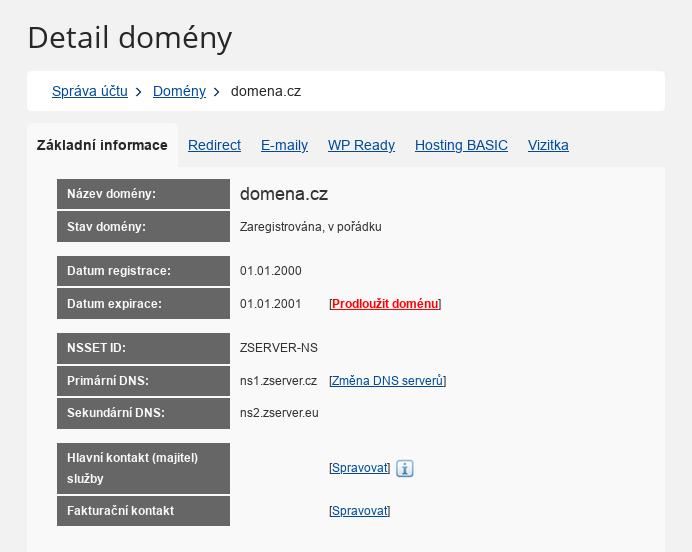 Forpsi - nastavení NSSET u .cz domén - výběr domény