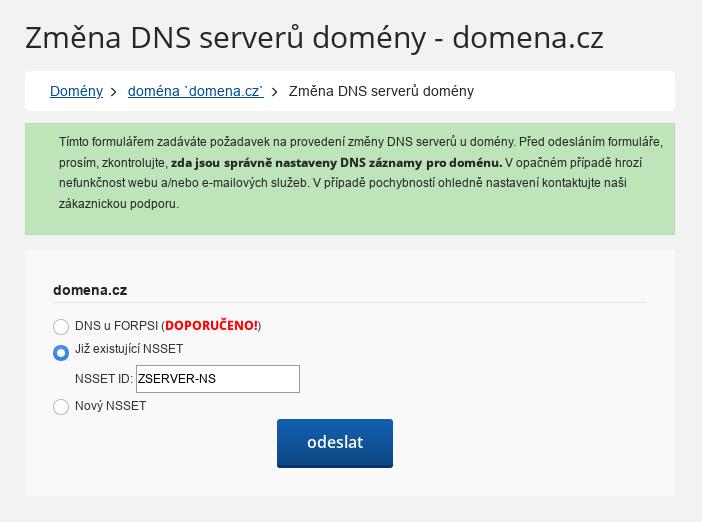 Forpsi - nastavení NSSET u .cz domén - zadání NSSETu