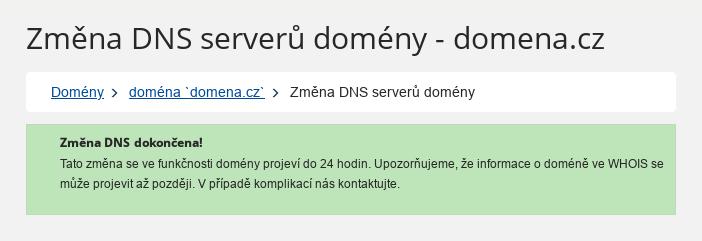 Forpsi - nastavení NSSET u .cz domén - dokončení