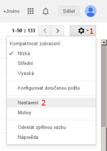 Gmail - nastavení stahování pošty - obrázek 1