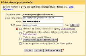 Gmail - nastavení stahování pošty - obrázek 4