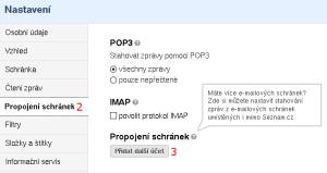 Seznam - nastavení stahování pošty - obrázek 2