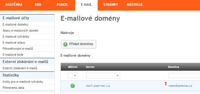Přidání záznamu DKIM - krok 1