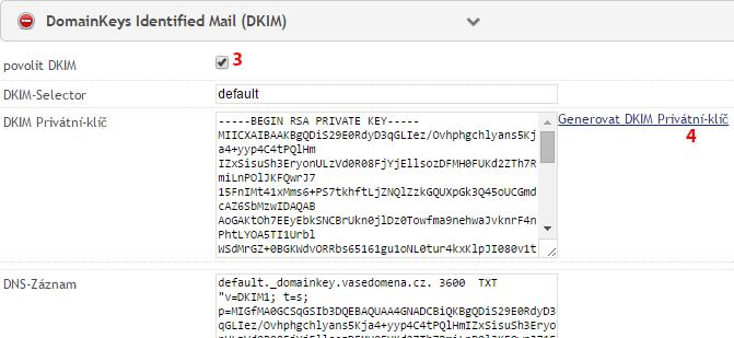 Přidání záznamu DKIM - krok 3 a 4