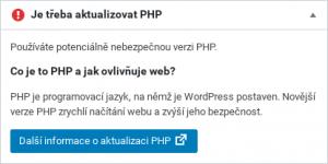 Wordpress - php verze - varování